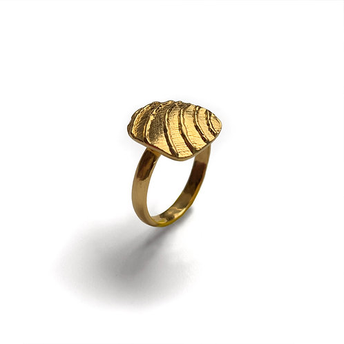 Ring Flat Waves | Gold Plated Silver 925°