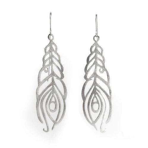 Leaf of Peacock Earrings | Sterling Silver 925°