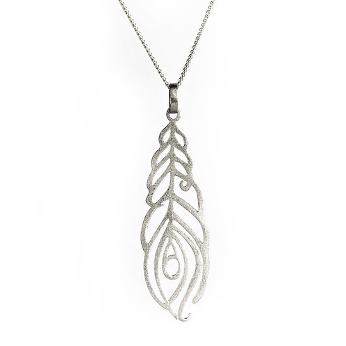 Leaf of Peacock Necklace   Sterling Silver 925°