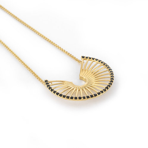 Hera's Throne Necklace | Gold Plated Sterling Silver 925° Black Zircon