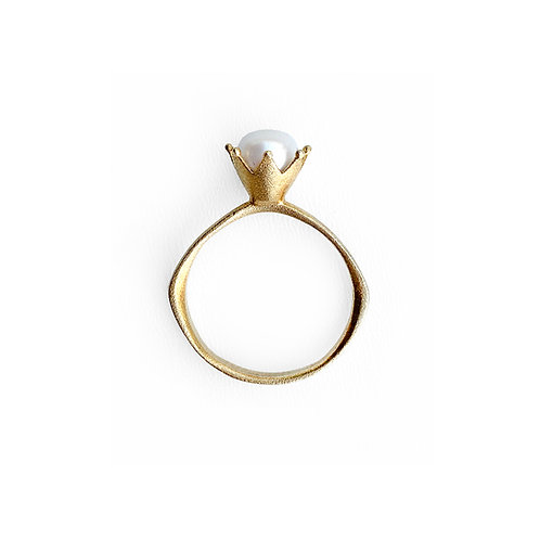 Ring | Sterling Silver 925° Gold Plated with White Pearl