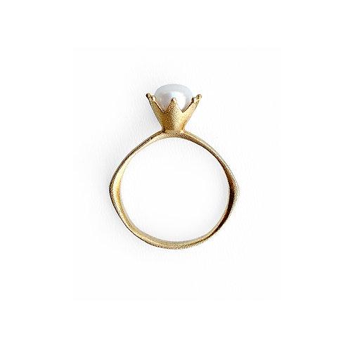 Δαχτυλίδι   Χειροποίητο Επίχρυσο Ασήμι 925° με Λευκό Μαργαριτάρι
