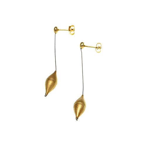 Earrings Drops Barrel | Gold Plated Silver 925°