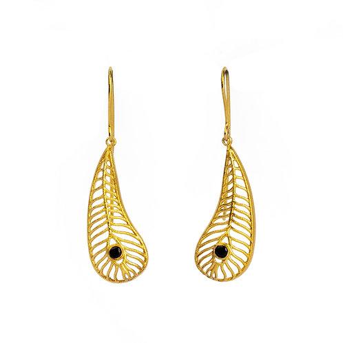 Argos' Eye Small Matte Earrings | Gold Plated Sterling Silver 925° Black Zirco