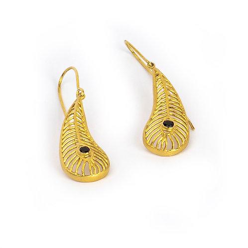 Argos' Eye Matte Earrings | Gold Plated Sterling Silver 925° Black Zircon