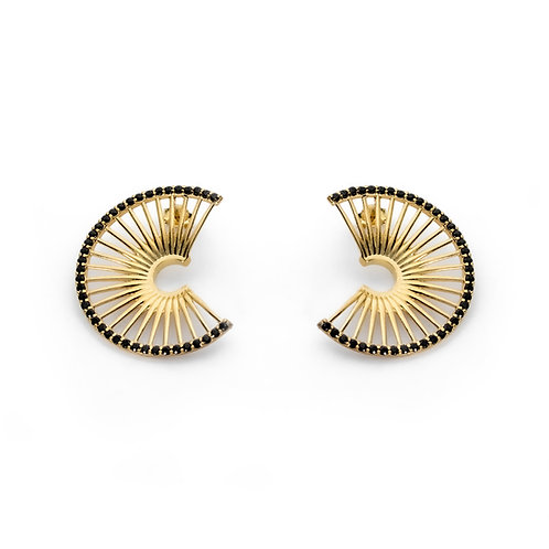 Hera's Throne Small Earrings | Gold Plated Sterling Silver 925° Black zircon