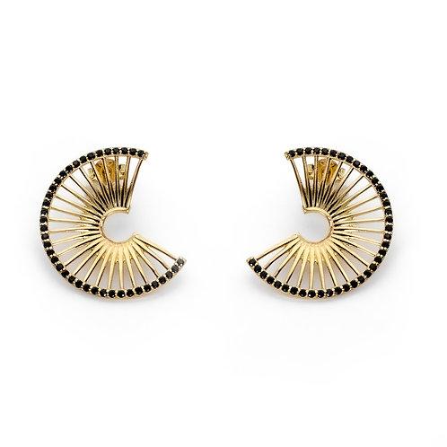 Hera's Throne Earrings | Gold Plated Sterling Silver 925° Black Zircon