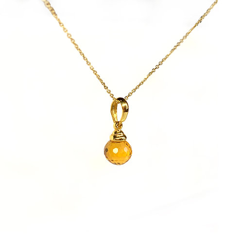 IRIΔA DROPS Necklace | Citrine orange Gold K18
