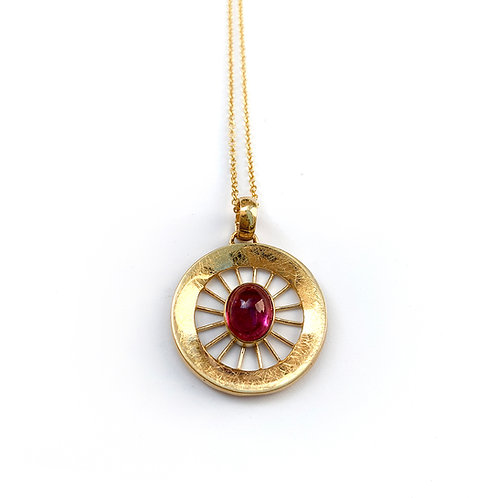 Aktines Round Necklace | Gold Plated Sterling Silver 925° - Red Cabochon