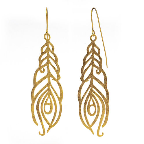 Leaf of Peacock Earrings | Gold Plated Sterling Silver 925°