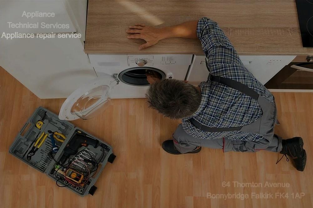 appliance service man repairing washing machine Falkirk