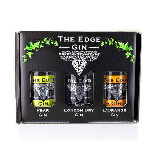 The Edge Gin Gift Box 3 x 5cl front view