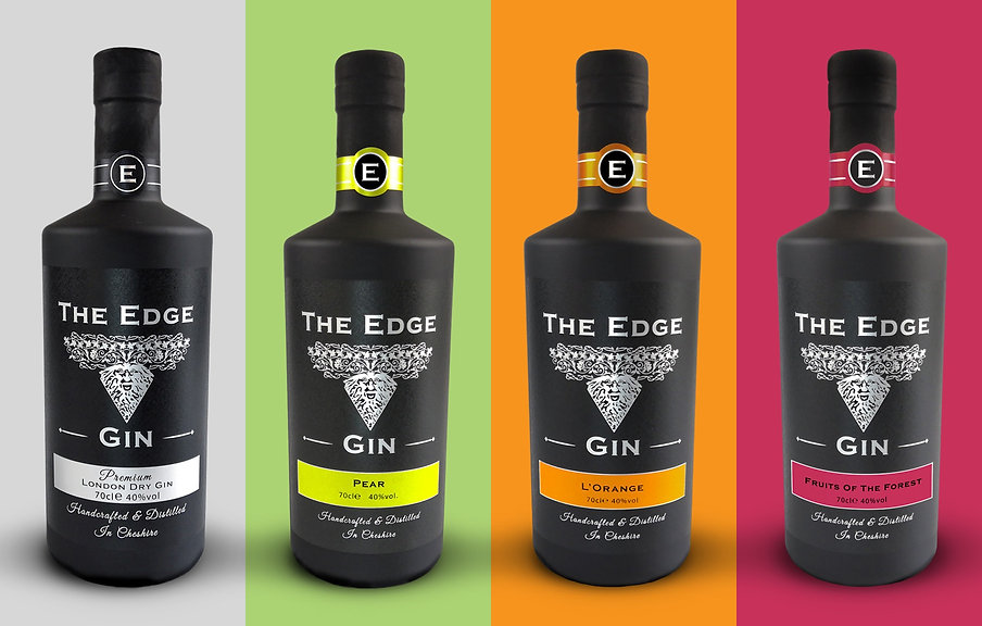 The Edge Gin London Dry, Pear gin, Orange Gin, Fruits of the forest gin