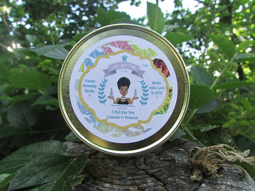 I Fall For You   Licorice and Tobacco   12oz. Globe Jar Soy Candle