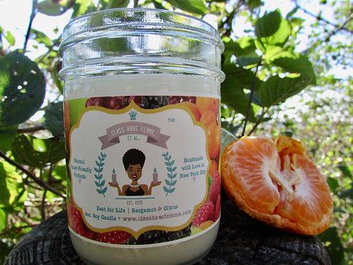 Zest For Life | Bergamot and Citrus | 8oz. Soy Candle