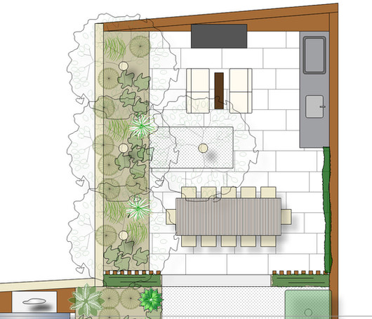Rear courtyard with large outdoor eating, fireplace, kitchen with green pergola
