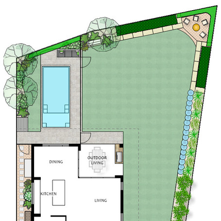 Large family garden with generous lawn, 6m beach pool and firepit in raised corner