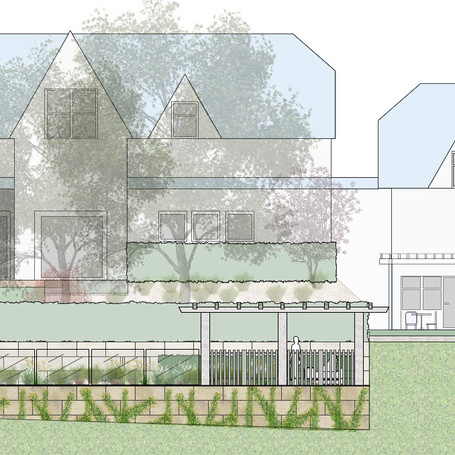 Elevation drawing - country garden with terraced lawn, pool and pergola