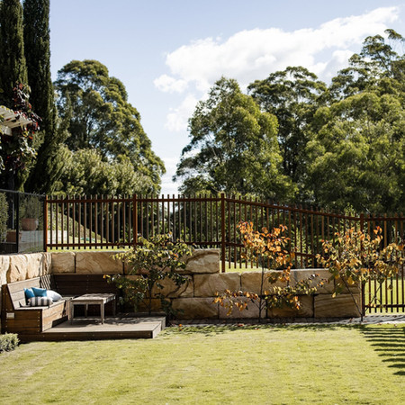 Lawn with bench seating, enclosed by sandstone wall and custom fencing. Featuring 3 Cercis 'Forest Pansy' trees