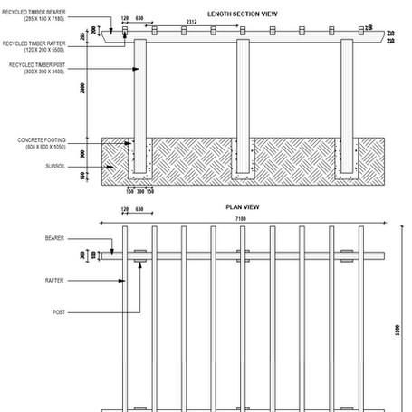 Construction detail drawing - timber pergola