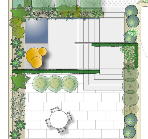Modern terraced garden with concrete stairs and still water feature