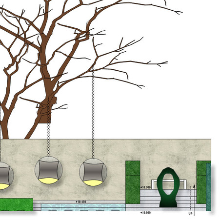 Elevation drawing - large tree with 'ball' chairs, sculpture, stairs and trickling water