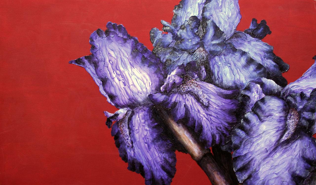 Colorful Acrylic Painting Irises