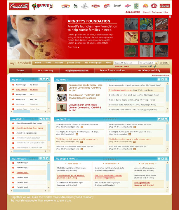 Intranet Home Page, Arnott's Branding