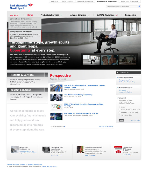 Home Page with Small & Med Business Perspective