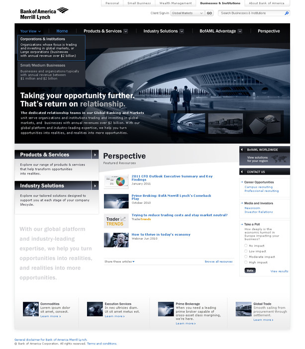 Home Page with Corporate & Institutions Perspective