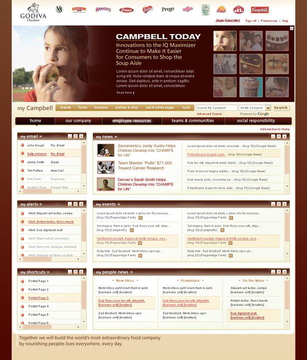 Intranet Home Page, Godiva Branding
