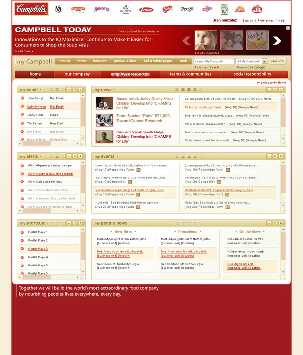 Intranet Home Page with Collapsed Media Bar