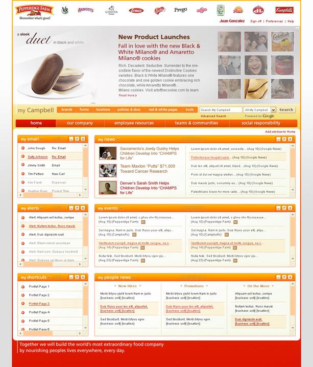 Intranet Home Page, Pepperidge Farm Branding