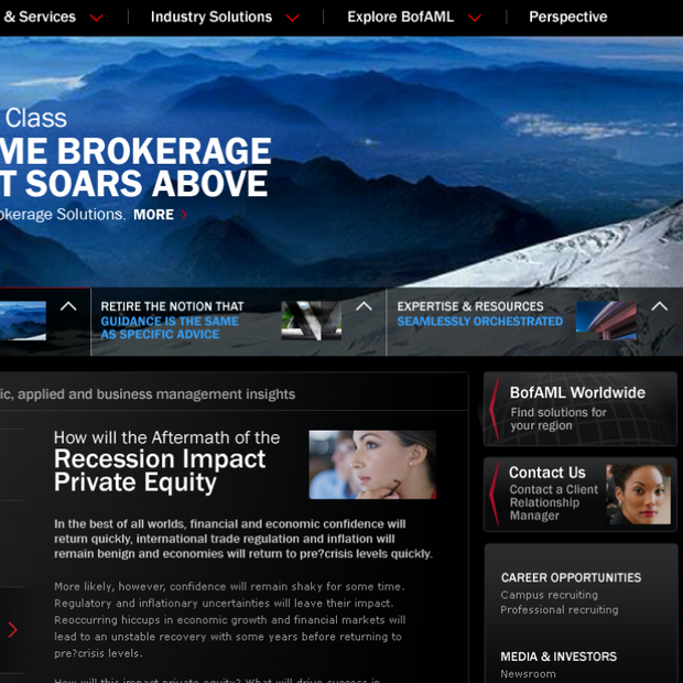 Business and institutional bank website