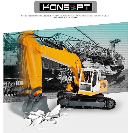 1:16 3 in 1 DIY RC Excavator No.E561