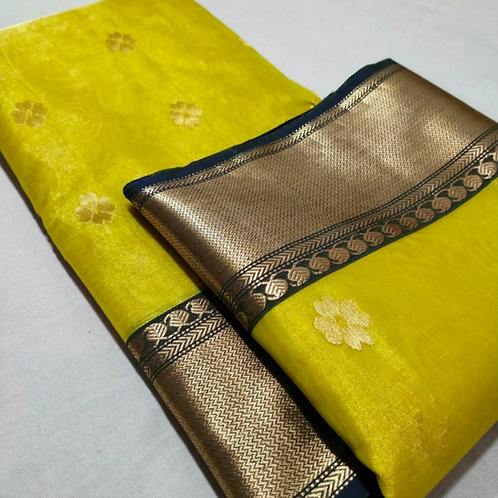 Handloom Chanderi Katan Silk Saree In Yellow With Naksh Border