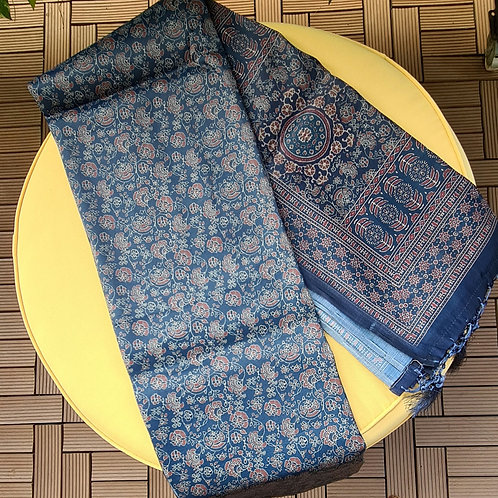 Chanderi  Masrise Silk Saree In Cobalt Blue Colour