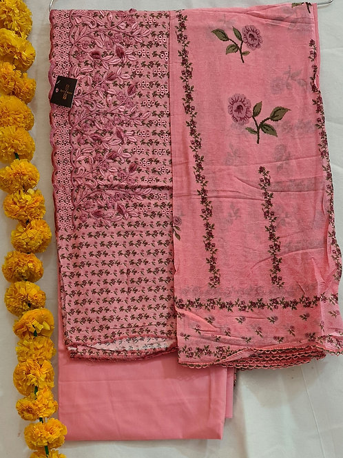 Cotton  Dress Material In Pink With Hand Embroidery And Cut Work
