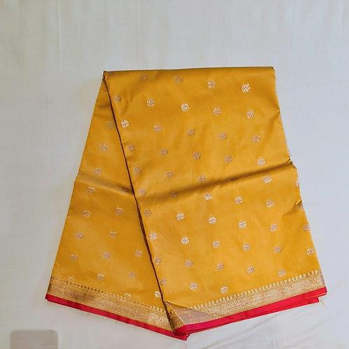 Banarsi Maheshwari Silk Saree In Tuscany Yellow Colour
