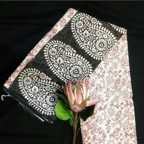 Cotton  Saree With Jaipur Hand Block Print