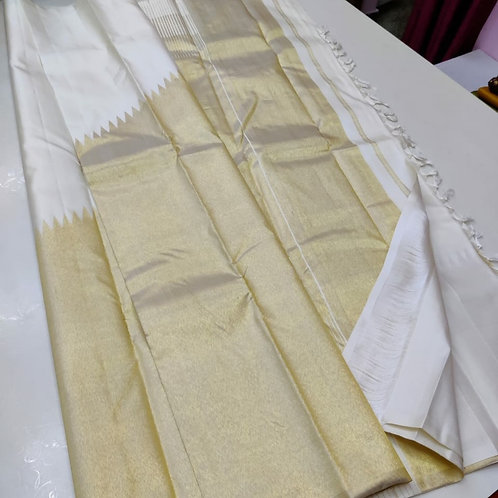 Kanjivaram Pure Silk Saree In White And Gold Combination With Temple Pattern