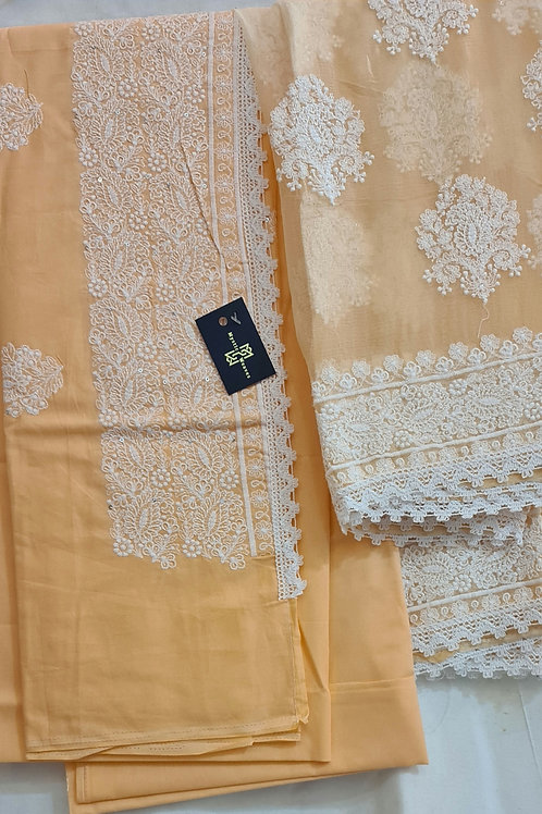 Cotton  Dress  Material In Soft Squash Colour With Chikankari Work