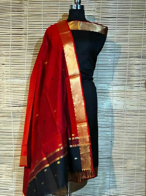 Chanderi Cotton Silk Dress Material In Black And Red Combination