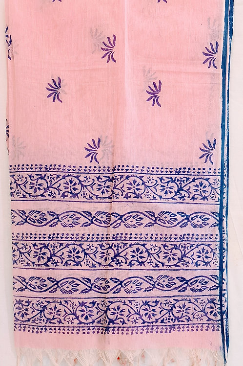 Pure Cotton Dupatta In Baby Pink Colour With Paisley Pattern