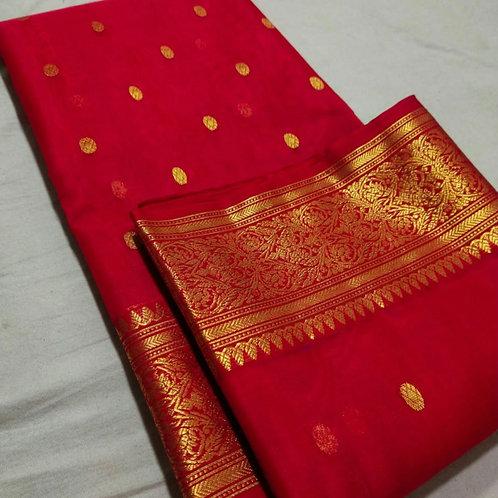 Handloom Chanderi Katan Silk Saree In Red Colour With Naksh Border