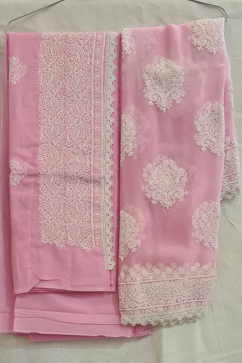 Dress Material In Soft Pink Colour In Chikankari Work