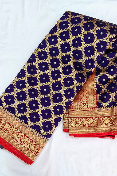 Banarsi Jaal Brocade Weaving In Navy Blue And Red Colour
