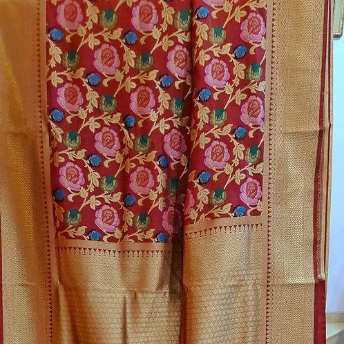 Banarsi Katan Silk Saree In Red Colour With Gold Zari Border