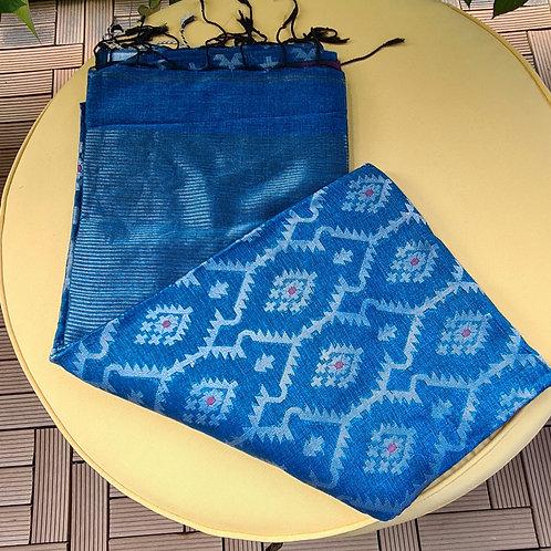 Handloom Linen Khadi Cotton Silk Saree In Electric Blue Colour