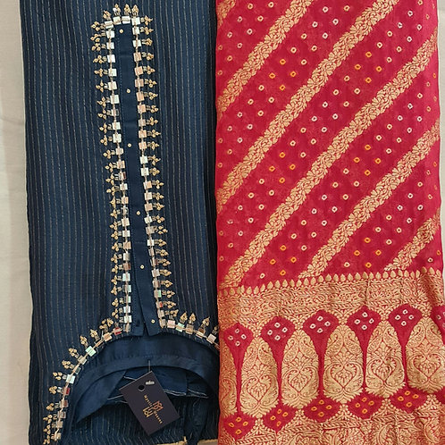 Dress Material In Soft Modal Muslin Silk In Royal Blue With Hand Embroidery